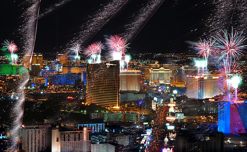 Fireworks fill the Las Vegas sky New Years 2006.